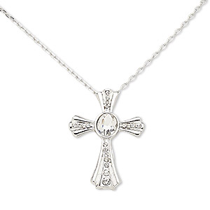 necklace, glass rhinestone with silver-plated brass and pewter (zinc-based alloy), clear, 45x31mm cross, 16 inches with 3-inch extender chain and lobster claw clasp. sold individually.