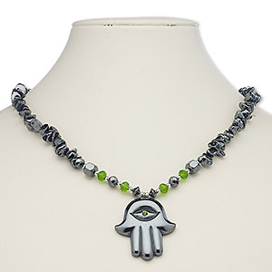 necklace, hemalyke™ (manmade) / glass / glass rhinestone / silver-plated steel / brass, green, 40x35mm fatima hand, 18 inches with barrel clasp. sold individually.