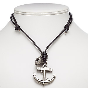 necklace, leather (dyed) with gunmetal-plated steel and pewter (zinc-based alloy), black, 42x40mm anchor with 17x16mm skull, adjustable up to 26 inches with knot closure. sold individually.