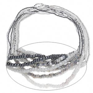 necklace mix, glass, clear / opaque gunmetal / opaque white ab, 36-inch continuous loop. sold per pkg of 10.