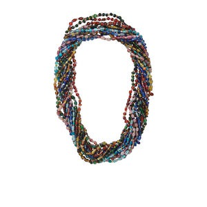 necklace mix, glass, mixed colors, 3mm - 9x7mm multi-shaped, transparent to translucent, 27-inch continuous strand. sold per pkg of 12.