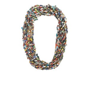 necklace mix, glass, mixed colors with luster finish, 6mm-11x8mm mixed shape, 27-inch continuous loop. sold per pkg of 12.