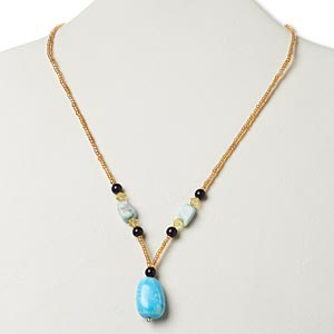 necklace, multi-gemstone (natural / dyed / stabilized) / glass / silver- or antiqued gold-finished pewter (zinc-based alloy), multicolored, large nugget, 17 inches with lobster claw clasp. sold individually.