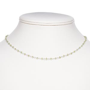 necklace, peridot (natural) and silver-finished brass, 3x2mm hand-cut faceted rondelle, 17 inches with s-hook clasp. sold individually.