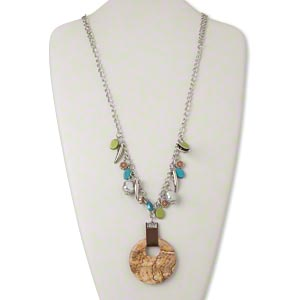 necklace, picture jasper (natural) / ribbon / silver-coated plastic / silver-finished steel, brown / green / blue, 50mm round go-go, 30-inch continuous loop. sold individually.
