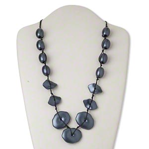 necklace, plastic / waxed cotton cord / silver-finished steel, black and dark blue, graduated flat oval, 25-inch knotted with 2-inch extender chain and lobster claw clasp. sold individually.