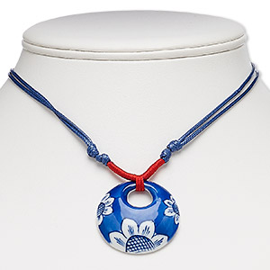 necklace, porcelain and waxed cotton cord, blue / red / white, 35mm round go-go with flower design, adjustable from 16-30 inches with macrame knot closure. sold individually.