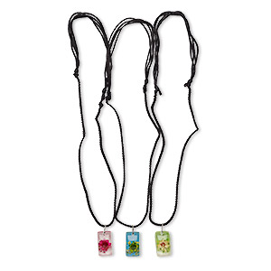 necklace, resin / flower / nylon / steel, assorted colors, 23x14mm rectangle, adjustable from 18-24 inches with macrame knot closure. sold per pkg of 3.