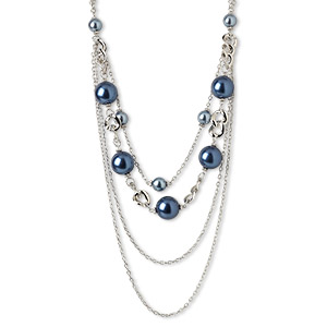 necklace, silver-plated steel / acrylic pearl / silver-coated plastic, blue, 23mm round, 30 inches with lobster claw clasp and 2-inch extender chain. sold individually.