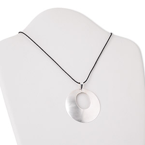 necklace, sterling silver and cotton, 50mm matte round go-go, 18 inches with silver springring clasp. sold individually.