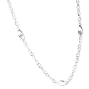 necklace, sterling silver, soldered link chain with 25x10mm twisted oval links, 42 inches with lobster claw clasp. sold individually.