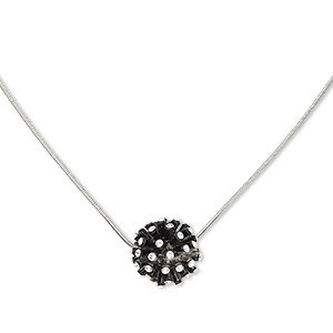 necklace, swarovski crystals / enamel / imitation rhodium-plated pewter (zinc-based alloy), crystal clear and black, 17mm round, 16 inches with 3-inch extender chain and lobster claw clasp. sold individually.