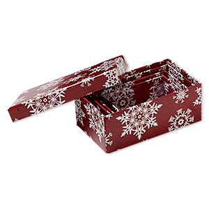nesting box, acid-free paper and cardboard, red and white, 3-1/2 x 2 x 1-1/4 to 5-1/4 x 3-1/4 x 2-inch rectangle with snowflake design. sold per 4-piece set.