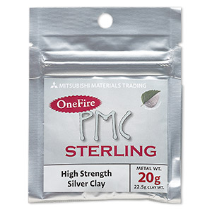 onefire sterling pmc™ precious metal clay, sterling silver. sold per 20-gram pkg.