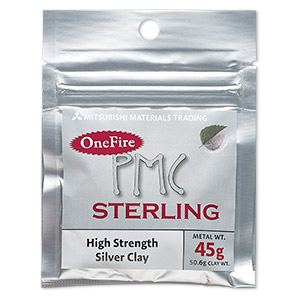 onefire sterling pmc™ precious metal clay, sterling silver. sold per 45-gram pkg.