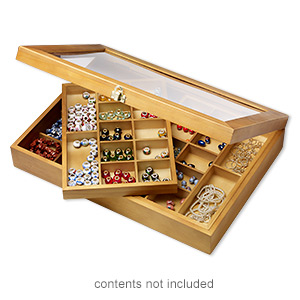 organizer, acrylic / stained wood / gold-finished steel, 15-3/4 x 11 x 3-inch hinged rectangle with 48 compartments. sold individually.