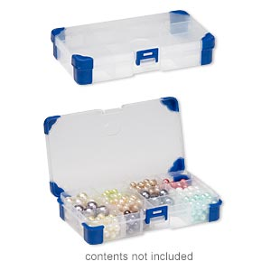organizer, acrylic and rubber, clear and blue, 6-1/2 x 3-1/2 x 1-1/4 inch rectangle, 4-12 adjustable compartments. sold individually.