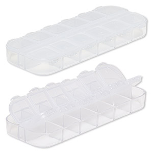 organizer, acrylic, clear, 5 x 1-3/4 x 1/2 inch rectangle with 12 compartments. sold per pkg of 2.