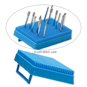 organizer, mascot, acrylic, turquoise blue, 5 x 3 x 1 inch rectangle for 3/32 inch shank burrs. sold individually.