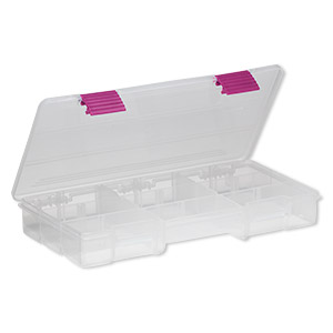 organizer, plano creative options, plastic, clear, 9 x 1-1/4 x 4-inch box, 5-9 compartments. sold individually.