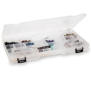 organizer, plano, plastic, clear, 14 x 9-1/8 x 1-3/8 inch box, 5-29 compartments. sold individually.