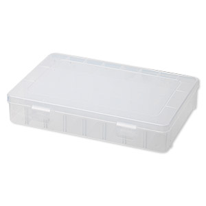 organizer, plastic, clear, 7-3/4 x 1-1/2 x 5-1/2 inch rectangle with 24 adjustable compartments. sold individually.