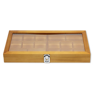 organizer, stained wood / acrylic / brass / imitation rhodium-finished steel, brown / black / clear, 14-3/4 x 8-1/4 x 1-3/4 inch hinged rectangle with 7 x 7-1/2 x 3/4 inch tray and 16 compartments with key lock. sold individually.