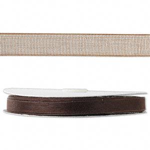 organza ribbon, nylon, brown, 1/4 inch. sold per 33-yard spool.
