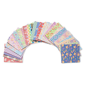 origami paper, washi (imitation), multicolored, 3x3-inch square, 45 total patterns. sold per pkg of 180 sheets.