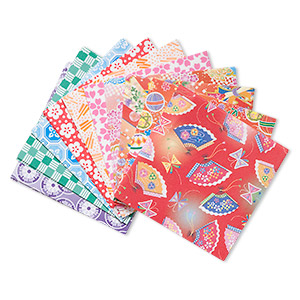 origami paper, washi, multicolored, 3x3-inch square, 10 total patterns. sold per pkg of 300 sheets.