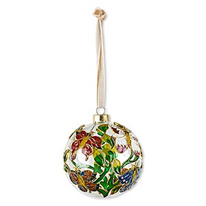 ornament, glass / enamel / velveteen ribbon / gold-finished copper / brass / steel, clear and multicolored with glitter, 3-inch round with butterfly and leaf design. sold individually.