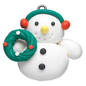 ornament, polymer clay and imitation rhodium-finished steel, multicolored, 46x43mm snowman with wreath. sold individually.