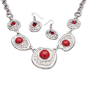 "Necklace and earring set, acrylic and antiqued ""pewter"" (zinc-based alloy) with floral texture, red, 23mm-39x38mm round cabochon in setting, 16-inches with lobster claw clasp and 3-inch extender chain, fishhook earwires. Sold per set."