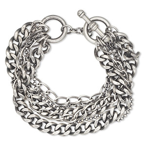 Bracelet, 6-strand, antiqued silver-plated brass, curb/cable/ball chain, 8 inches with toggle clasp. Sold individually.