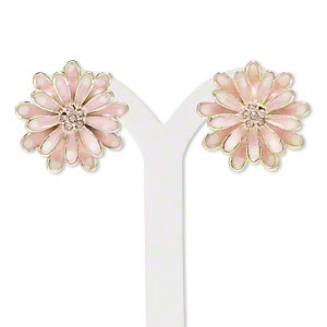 Earring, enamel / glass rhinestone / gold-finished brass / steel, pink and white, 23x23mm flower with post. Sold per pair.