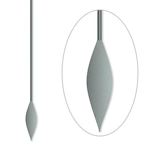 paddle pin, gunmetal-plated brass, 2 inches with spear, 22 gauge. sold per pkg of 100.