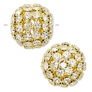 Bead, Chinese glass rhinestone and gold-finished brass, clear, 21-23mm round with 5mm chatons and 4.5mm hole. Sold individually.