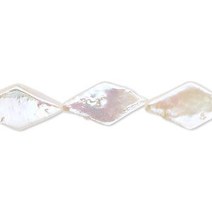 pearl, cultured freshwater (bleached), white, 15x10mm flat diamond, c- grade, mohs hardness 2-1/2 to 4. sold per 16-inch strand.