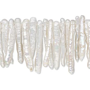 pearl, cultured freshwater (bleached), white, 20x2mm-25x4mm top-drilled stick, c grade, mohs hardness 2-1/2 to 4. sold per 4-inch strand, approximately 35 beads.