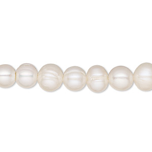 pearl, cultured freshwater (bleached), white, 5-8mm semi-round, c grade, mohs hardness 2-1/2 to 4. sold per 16-inch strand.