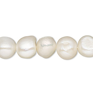 pearl, cultured freshwater (bleached), white, 8-10mm semi-round, d grade, mohs hardness 2-1/2 to 4. sold per 16-inch strand.