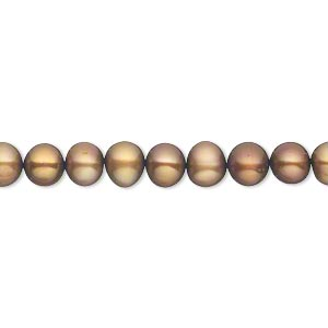 pearl, cultured freshwater (dyed), antique gold, 5-6mm semi-round, c+ grade, mohs hardness 2-1/2 to 4. sold per 16-inch strand.
