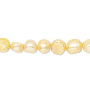 pearl, cultured freshwater (dyed), antique ivory, 6-8mm flat-sided potato, d grade, mohs hardness 2-1/2 to 4. sold per 16-inch strand.