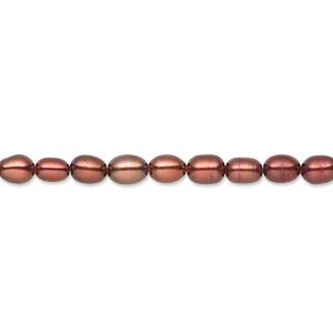 pearl, cultured freshwater (dyed), antique red, 3-4mm rice, c grade, mohs hardness 2-1/2 to 4. sold per 15-inch strand.