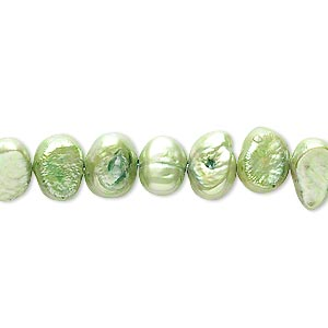 pearl, cultured freshwater (dyed), avocado, 6-8mm flat-sided potato, d grade, mohs hardness 2-1/2 to 4. sold per 15-inch strand. minimum 2 per order.