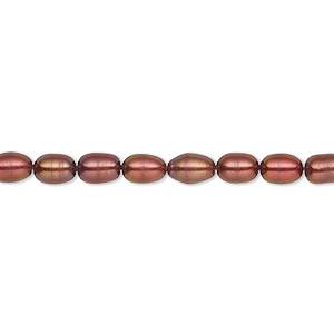 pearl, cultured freshwater (dyed), black cherry, 4-5mm rice, c grade, mohs hardness 2-1/2 to 4. sold per 16-inch strand.