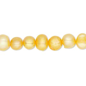 pearl, cultured freshwater (dyed), carrot, 6-7mm flat-sided potato, d+ grade, mohs hardness 2-1/2 to 4. sold per 15-inch strand.