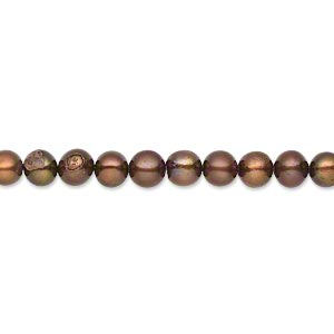 pearl, cultured freshwater (dyed), copper peacock, 5mm semi-round, c- grade, mohs hardness 2-1/2 to 4. sold per 15-inch strand.