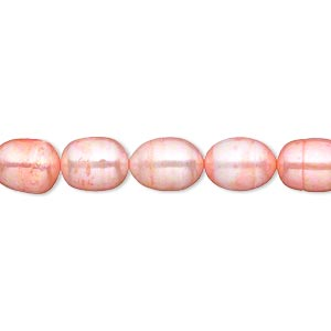pearl, cultured freshwater (dyed), dark blush, 7-8mm rice, d grade, mohs hardness 2-1/2 to 4. sold per 15-inch strand.