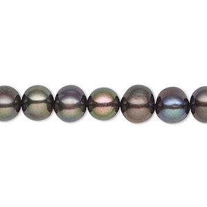 pearl, cultured freshwater (dyed), dark peacock, 7-8mm semi-round, c grade, mohs hardness 2-1/2 to 4. sold per 16-inch strand.